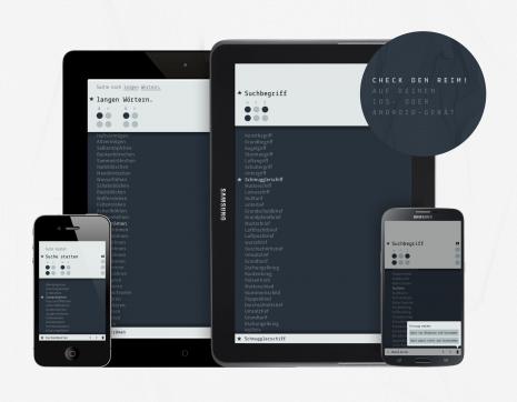 Die aktuelle Version der Reimsuch-App auf verschiedenen Devices.